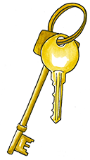a drawing of a pair of keys