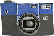 A drawing of a photo camera