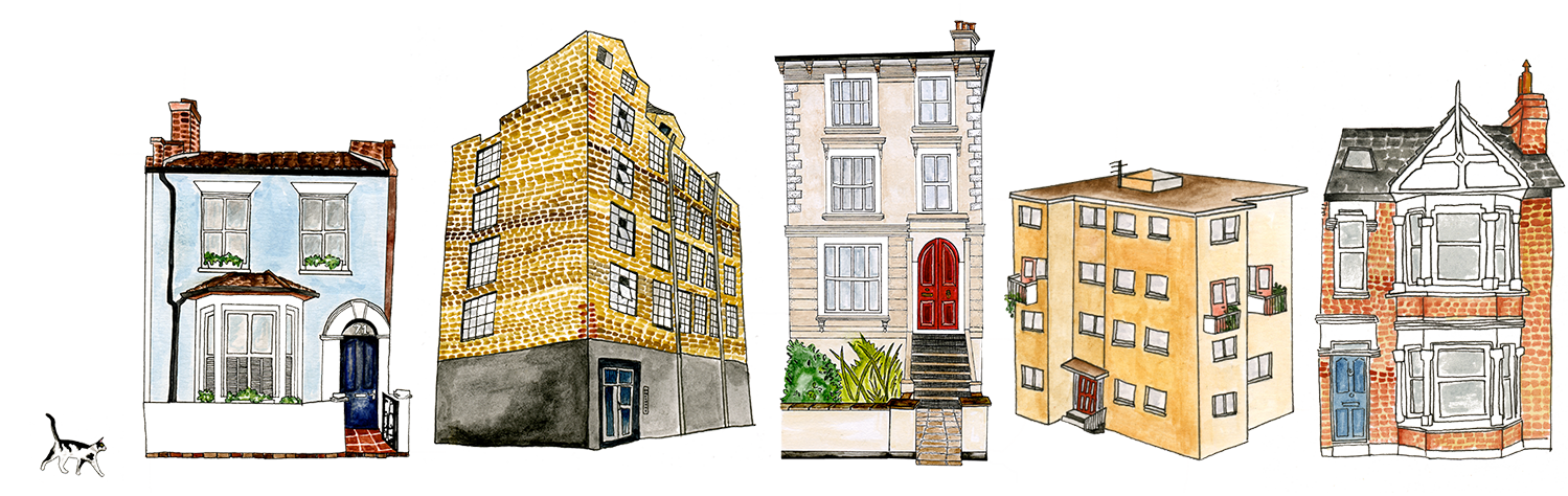 Illustration of houses and a small cat