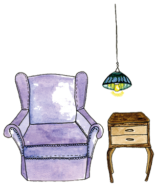 Illustration of a sofa and a side table with a lamp on top
