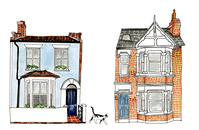 Illustrations of houses and a cat