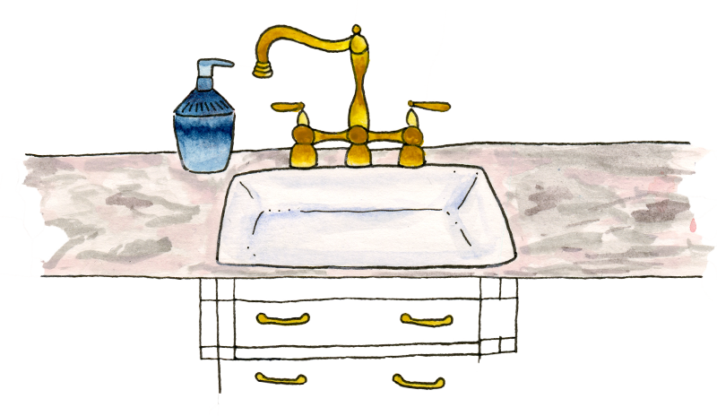 A drawing of a kitchen sink