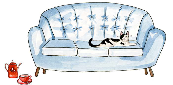 Drawing of a cat on top of a sofa and a red teapot on the floor